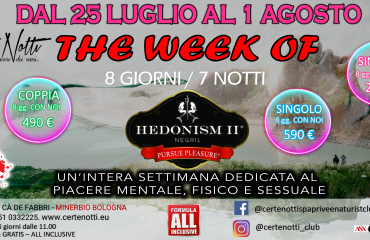 The week of Hedonism: una settimana dedicata al piacere mentale, fisico e sessuale